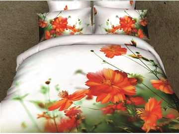 3D Orange Floral and Green Leaves Printed Cotton 4-Piece White Bedding Sets