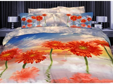3D Orange Coneflower Printed Cotton 4-Piece Bedding Sets/Duvet Covers