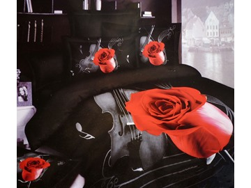 New Arrival High Quality Rose Musical Movement 3D Print 4 Piece Bedding Sets