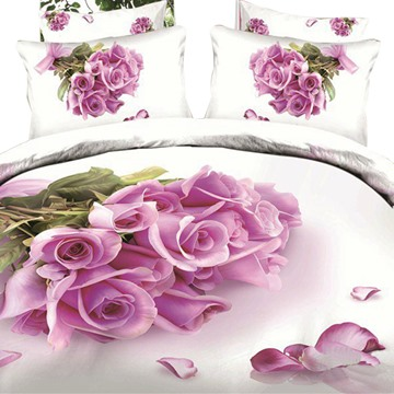 3D Pink Roses Printed Cotton 4-Piece White Bedding Sets/Duvet Covers