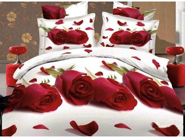 3D Red Roses and Scattered Petals Printed Cotton 4-Piece White Bedding Sets