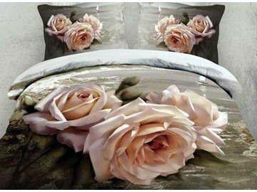 Oil-painting Style Beautiful Roses Print 4-Piece Cotton Duvet Cover Sets