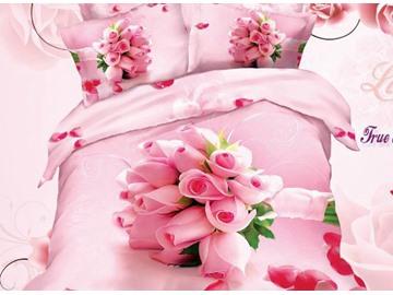 3D Bouquet of Pink Roses Printed Cotton 4-Piece Bedding Sets/Duvet Cover