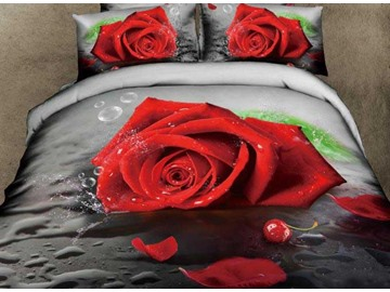 3D Red Rose and Waterdrop Printed Cotton 4-Piece Bedding Sets/Duvet Covers