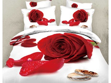 3D Red Rose and Ring Printed Cotton 4-Piece White Bedding Sets/Duvet Covers