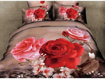 3D Red and Pink Rosa Chinensis Printed Cotton 4-Piece Bedding Sets/Duvet Cover