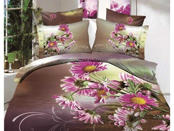 3D Purple Daisy Flowers Printed Cotton 4-Piece Bedding Sets/Duvet Cover