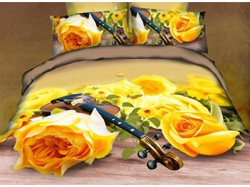 3D Yellow Roses and Violin Printed Cotton 4-Piece Bedding Sets/Duvet Cover