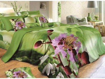 3D Crape Myrtle Printed Cotton 4-Piece Green Bedding Sets/Duvet Covers