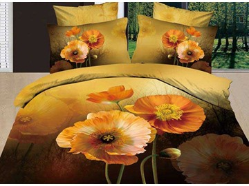 3D Iceland Poppy Retro Style Cotton 4-Piece Bedding Sets/Duvet Covers
