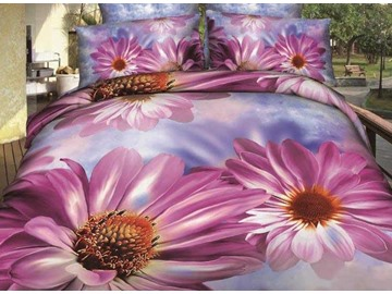 New Arrival Beautiful Pink Daisy Flowers Print 4 Piece Bedding Sets