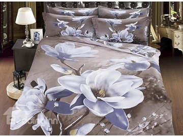 3D White Magnolia Printed Cotton 4-Piece Bedding Sets/Duvet Cover