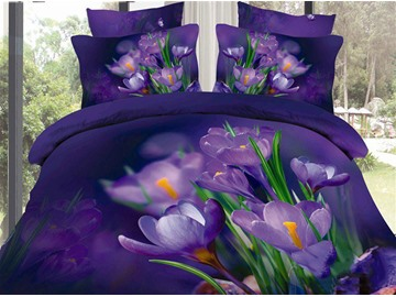 Purple Saffron and Green Leaves Cotton 4-Piece Bedding Sets/Duvet Covers