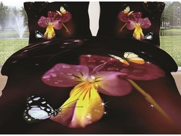New Arrival Beautiful Flower and Butterflies Print 4 Piece Bedding Sets