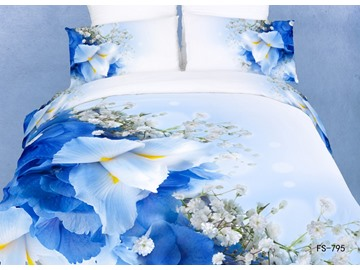 3D Bearded Iris and Gypsophila Printed Cotton 4-Piece Queen Size Bedding Sets