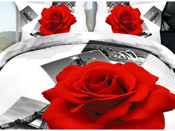 3D Red Rose and Photos Printed Cotton 4-Piece Bedding Sets/Duvet Covers