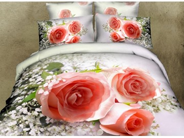3D Pink Rose and Babysbreath Printed Cotton 4-Piece Bedding Sets/Duvet Covers