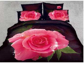 3D Pink Rose Printed Cotton 4-Piece Bedding Sets/Duvet Cover