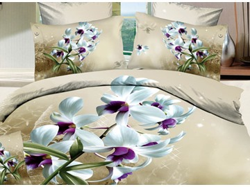3D Bouquet of White Lily Printed Cotton 4-Piece Bedding Sets/Duvet Covers