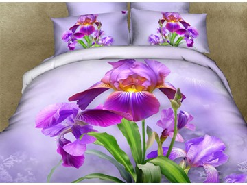 3D Purple Dutch Iris Printed Cotton 4-Piece Bedding Sets/Duvet Cover