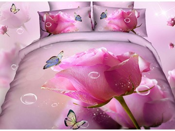 3D Pink Rose Butterfly and Bubbles Printed Cotton 4-Piece Bedding Sets