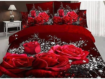 3D Red Rose and Baby Breath Printed Cotton 4-Piece Bedding Sets