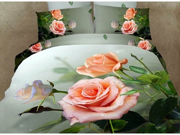 3D Dewy Rose Printed Cotton 4-Piece Bedding Sets/Duvet Covers