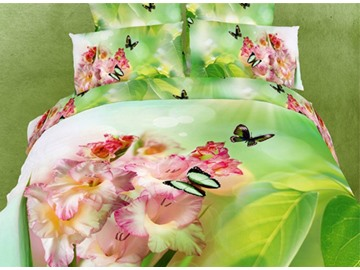 3D Pink Daylily and Butterfly Printed Cotton 4-Piece Light Green Bedding Sets