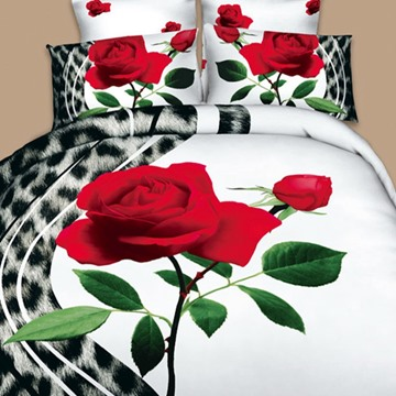3D Leopard Print and Red Rose Design 4-Piece White Bedding Sets/Duvet Covers