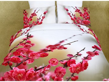 3D Red Plum Blossom Printed Cotton 4-Piece Bedding Sets/Duvet Covers