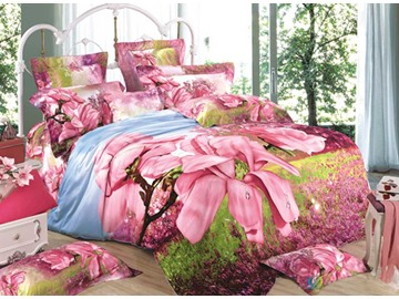 3D Pink Magnolia with Grass Printed Cotton 4-Piece Bedding Sets/Duvet Covers