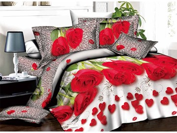 3D Red Roses and Heart-shaped Petals Printed Cotton 4-Piece Bedding Sets/Duvet Covers