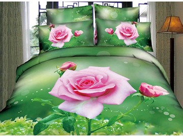 3D Pink Rose and Bud Printed Cotton 4-Piece Green Bedding Sets/Duvet Covers