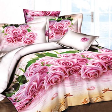 Pretty Pink Roses on Beach Print 4-Piece 3D Duvet Cover Sets