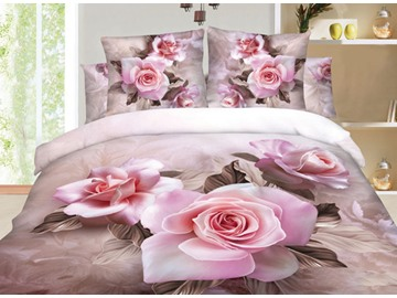 100% Cotton Beautiful Pink Rose Print 3D Duvet Cover Sets