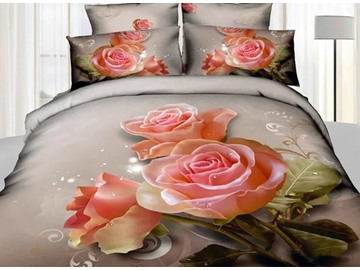 Charming Blooming Pink Roses Print 4-Piece 3D Duvet Cover Sets