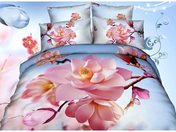 3D Pink Magnolia and Branches Printed Cotton 4-Piece Bedding Sets/Duvet Covers