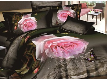 3D Pink Rose and Butterfly with Drops Printed Cotton 4-Piece Bedding Sets