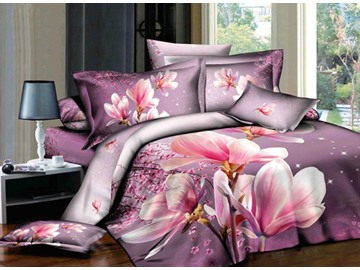 3D Pink Magnolia Printed Cotton 4-Piece Bedding Sets/Duvet Covers