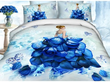 3D Girl Wearing Blue Rose Dress Printed Cotton 4-Piece Bedding Sets Endurable Skin-friendly All-Season