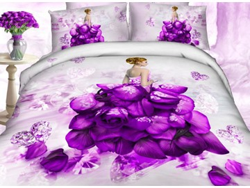 Amazing Rose and Diamond Dress Print 100% Cotton 3D Duvet Cover Sets