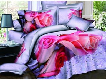 Charming Pink Roses Print 100% Cotton 3D Duvet Cover Sets
