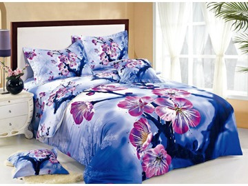Pink Plum Blossom with Blue Background Print 4-Piece Cotton Duvet Cover Sets