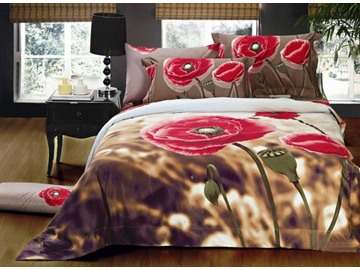 Amazing Poppy Flower Print 4-Piece Cotton Duvet Cover Sets