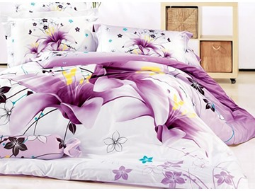 3D Purple Lily Printed Cotton 4-Piece Full Size Bedding Sets/Duvet Covers
