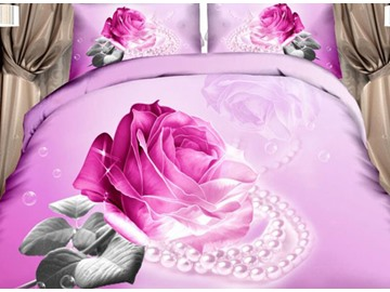 3D Pink Rose and Pearl Printed Cotton Full Size 4-Piece Bedding Sets