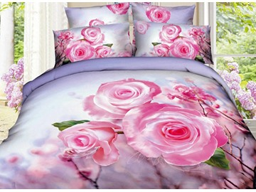 Charming Pink Flower Print 4-Piece Cotton Duvet Cover Sets