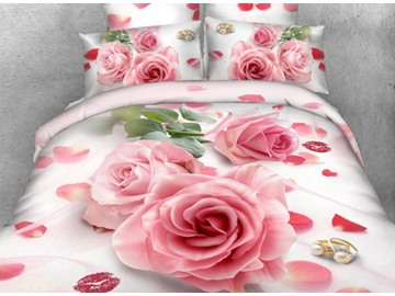 3D Pink Rose and Red Lips Printed Cotton 4-Piece Bedding Sets/Duvet Cover