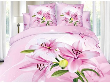 Amazing Pink Lily Flower Print 4-Piece Cotton 3D Duvet Cover Sets