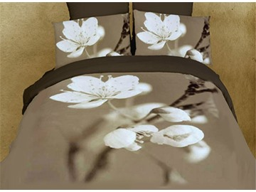 Pure White Pear Blossom Print 4-Piece Cotton Duvet Cover Sets